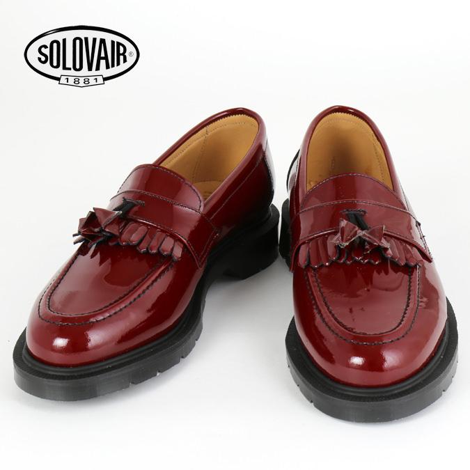 SOLOVAIR ソロヴェアー 革靴 レディース チェリーレッド パテント ローファー エナメル タッセル フリンジ レディース ギフト 女性 Cherry Red Patent loafer ビジネス靴 クラシック イギリス モッズ