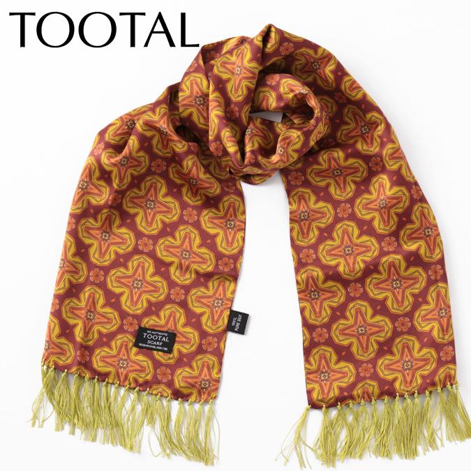Tootal Vintage メンズ シルクスカーフ ジオメトリック トゥータル ヴィンテージ オリジナル ゴールド 130×25cm レディース プレゼント ギフト