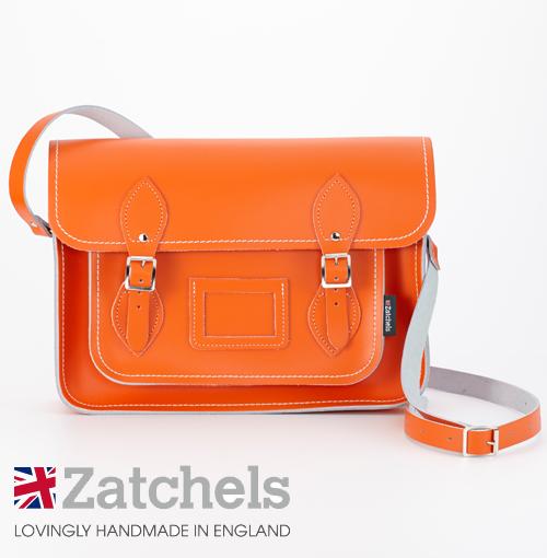 訳あり Zatchels サッチェルバッグ 13インチ 32.5x25x7cm 英国製 マグネットストラップ オレンジ かばん バッグ メンズ レディース アウトレット
