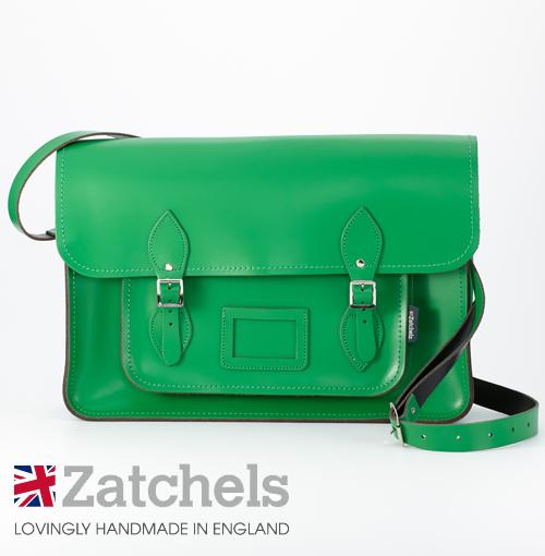 訳あり Zatchels サッチェルバッグ 16インチ 40x29x10cm 英国製 マグネットストラップ グリーン かばん バッグ メンズ レディース アウトレット