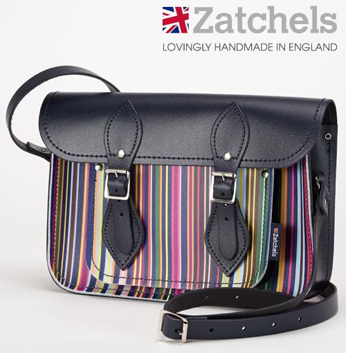 訳あり Zatchels サッチェルバッグ 11.5インチ 28x20x6cm 英国製 マグネットストラップ オックスフォードストライプ オックスフォード大学 かばん バッグ メンズ レディース アウトレット