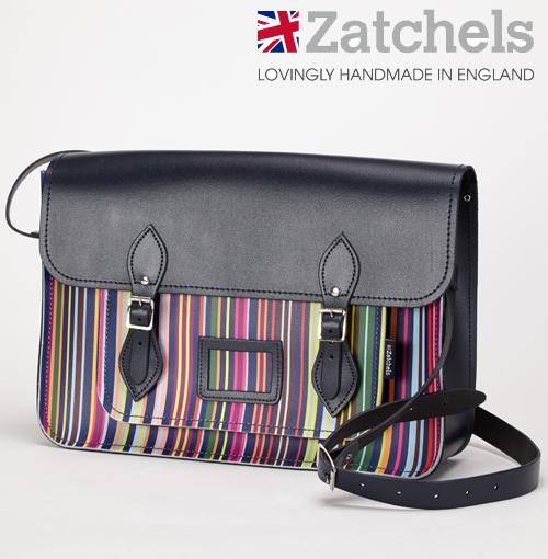 訳あり Zatchels サッチェルバッグ 16インチ 40x29x10cm 英国製 マグネットストラップ オックスフォードストライプ オックスフォード大学 かばん バッグ メンズ レディース アウトレット