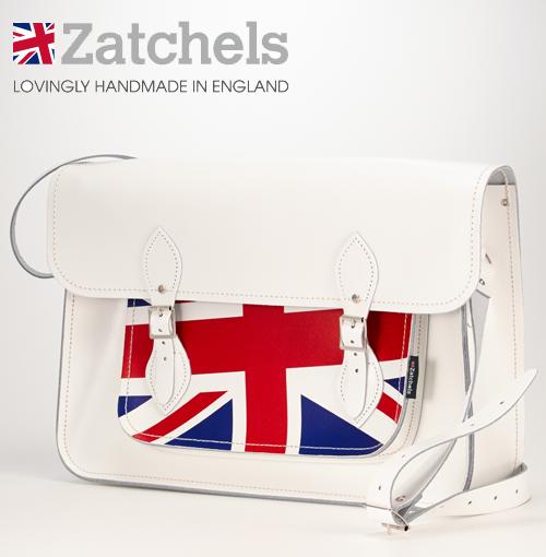 訳あり Zatchels サッチェルバッグ 16インチ 40x29x10cm 英国製 ユニオンジャック ホワイト かばん バッグ メンズ レディース アウトレット