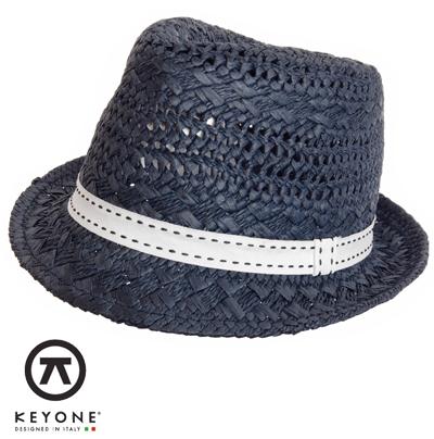 KEYONE キーヨン 麦わら 帽子 ストローハット 【送料無料】 ストロー ハット 麦わら帽子 Archeos Blu Straw Hat ダーク ブルー Dark Blue UK モッズファッション keyarcblu プレゼント ギフト