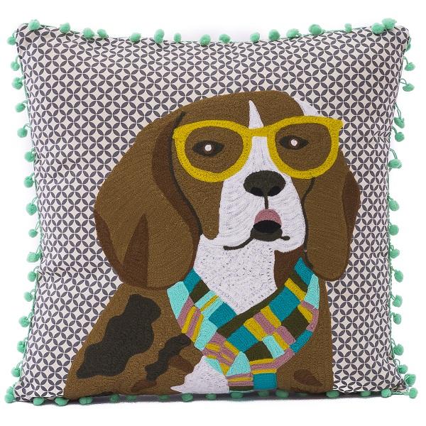 クッションカバー 中綿付き 賜物 刺繍 インテリア カラフル 動物モチーフ 犬 Karma Living ビーグル 45×45 カルマリビング お見舞い アニマルクッション ドッグ