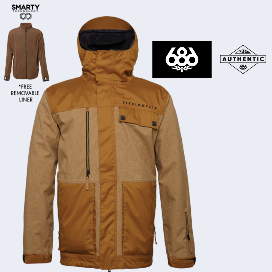 Woodland Mens Insulated Snowboard Jacket Shop 5e0ad E2f05 14 15 686 AUTHENTIC SMARTY FORM JACKET686
