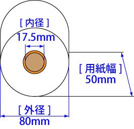 感熱ロール紙50×80×17.5mm (ノーマルタイプ)80巻パック