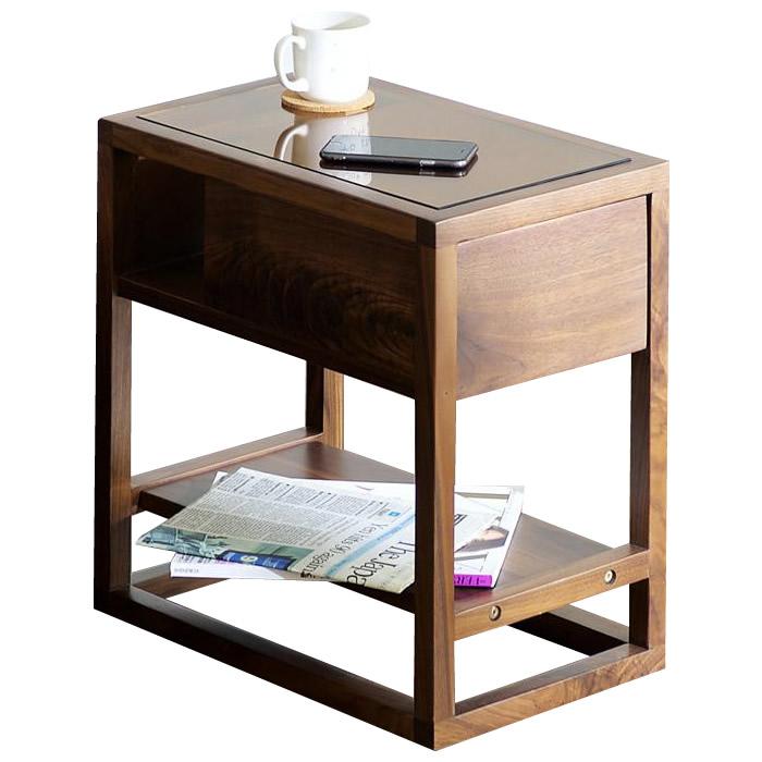 LOGU サイドテーブル 引出付き ウォールナット 30ST「他の商品と同梱不可」