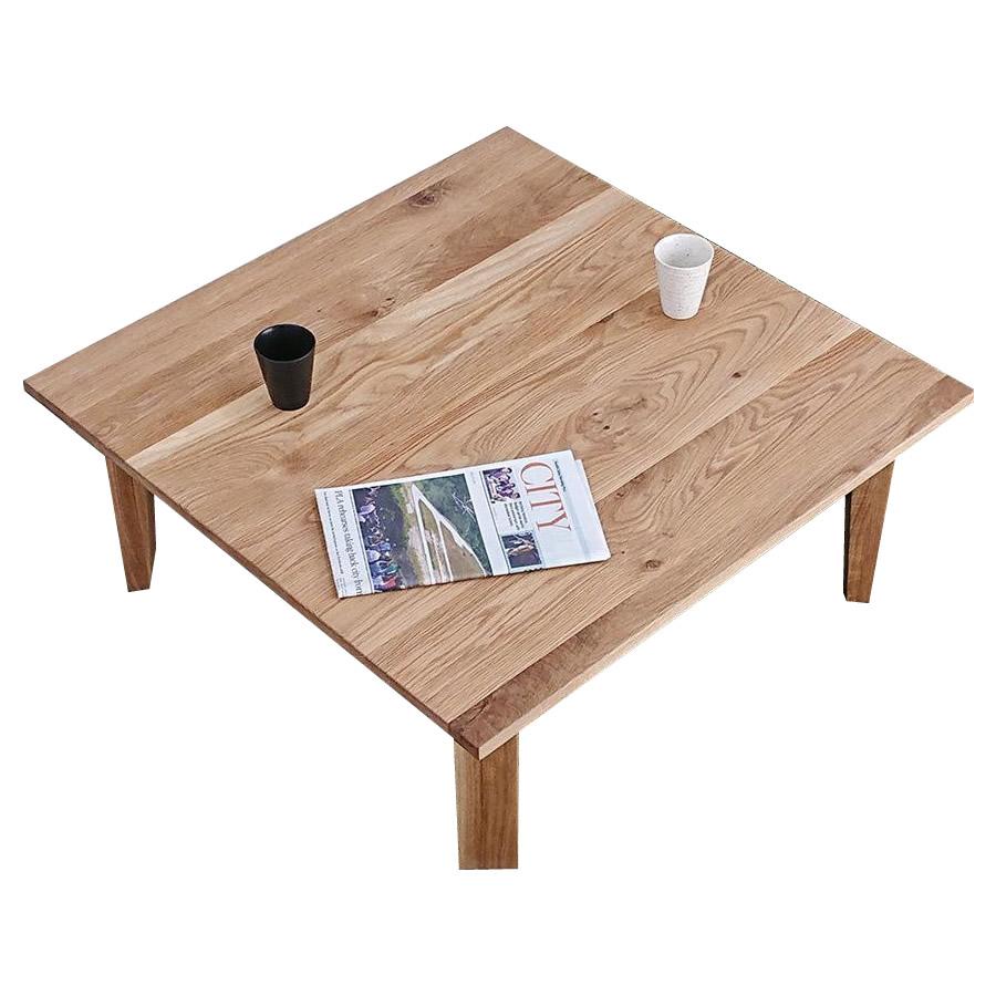 【代引不可】凛 折れ脚センターテーブル 90cm 角 オーク「他の商品と同梱不可」