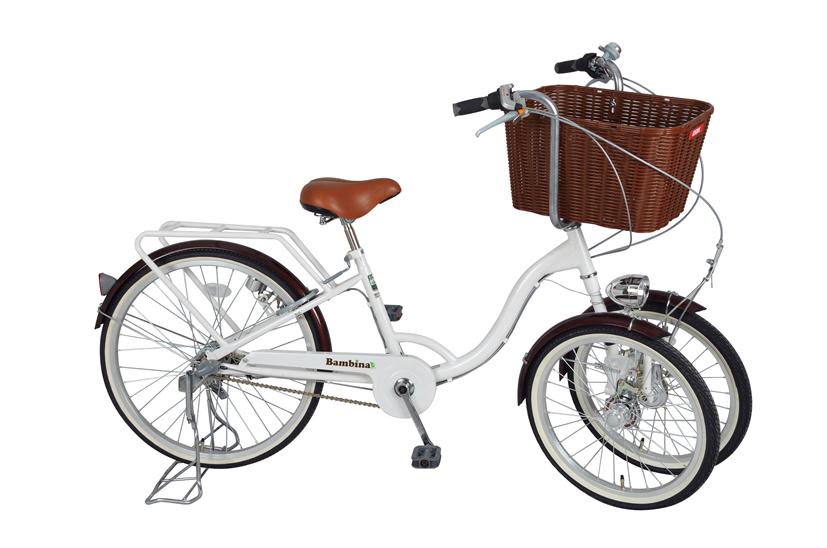 MIMUGO Bambinaバスケット付三輪自転車 ホワイト  MG-CH243B ※北海道/沖縄/離島別料金