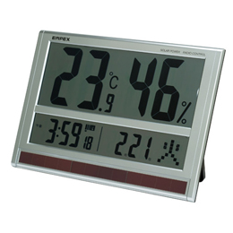 ☆EMPEX ジャンボソーラー温湿度計 電波時計 超大型液晶 太陽電池 室内用 置掛兼用 ソーラー TD-8170