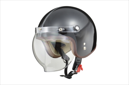 LEAD リード工業 NOVIA(ノービア) バブルシールド付スモールロージェットヘルメット レディースフリー(55~57cm未満) ジップ/ブラック【ZIP/BK】