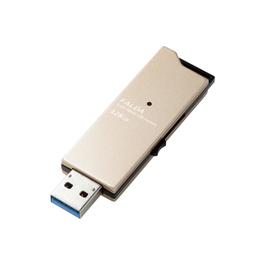 ☆エレコム USBメモリー/USB3.0対応/スライド式/高速/DAU/128GB/ゴールド MF-DAU3128GGD