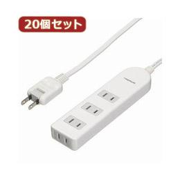 ☆YAZAWA 【20個セット】 ブレーカー付テーブルタップ Y02BS402WHX20