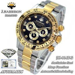 ☆J.HARRISON 8石天然ダイヤモンド付自動巻&手巻き時計 JH-014DG