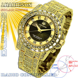 ☆J.HARRISON シャイニングソーラー電波時計 JH-025GB