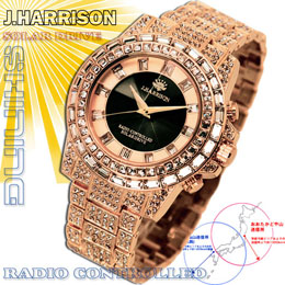 <欠品中 未定>☆J.HARRISON シャイニングソーラー電波時計 JH-025PB