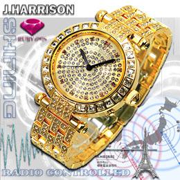☆J.HARRISON 天然ルビー1石付シャイニング電池式電波時計紳士用 JH-088M