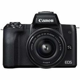 ☆CANON ミラーレス一眼カメラ 「EOS Kiss M」 EF-M15-45 IS STM レンズキット (ブラック) EOSKISSMBK-1545ISSTM