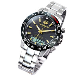 ☆J.HARRISON デジアナ式多機能付ソーラー電波腕時計 JH-094GB