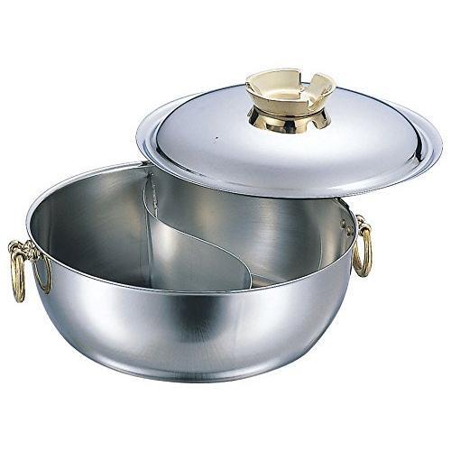 電磁しゃぶしゃぶ鍋 真鍮柄 仕切付 23cm 3312-0232「他の商品と同梱不可/北海道、沖縄、離島別途送料」