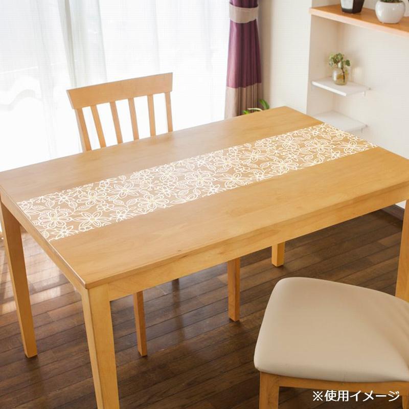 貼る透明テーブルクロス フラワー 30×2000cm ホワイト KPL-02「他の商品と同梱不可/北海道、沖縄、離島別途送料」