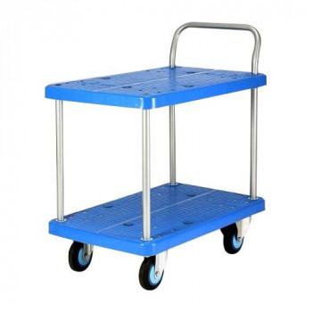 【代引不可】プラスチックテーブル台車 テーブル2段式 最大積載量300kg PLA300Y-T2「他の商品と同梱不可/北海道、沖縄、離島別途送料」