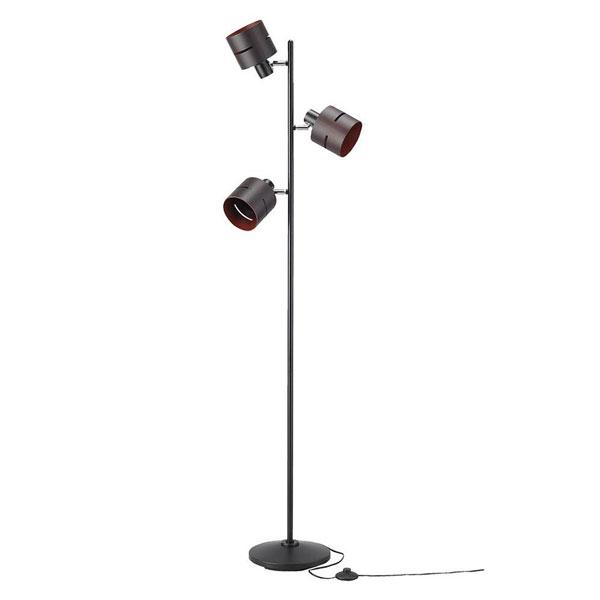 YAZAWA(ヤザワコーポレーション) ウッドセード3灯フロアスタンド ダークウッド E26 電球なし FSX60X01DW「他の商品と同梱不可」