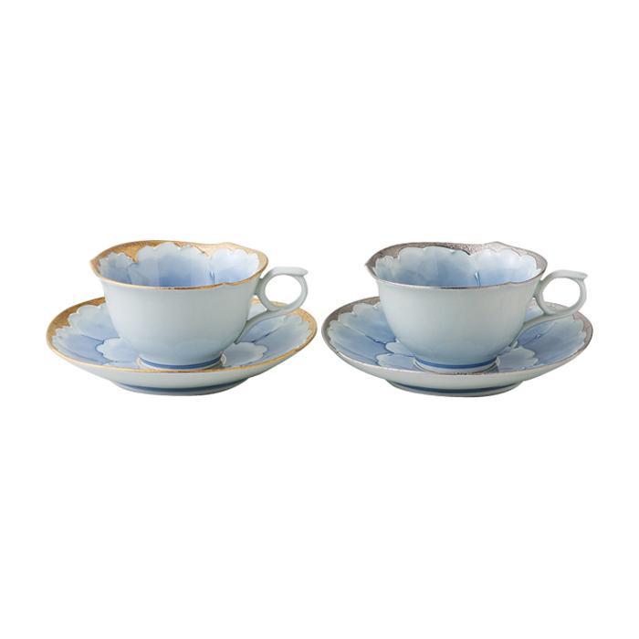 56042 プラチナ牡丹 ペアコーヒー碗皿「他の商品と同梱不可/北海道、沖縄、離島別途送料」