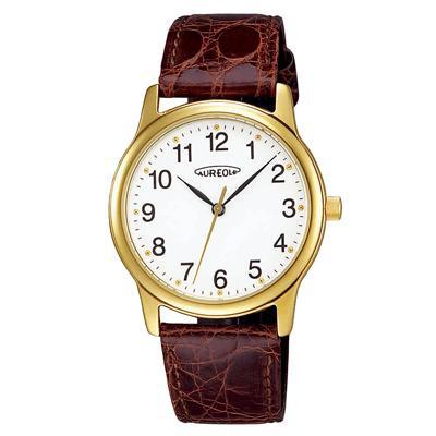 AUREOLE(オレオール) レザー メンズ腕時計 SW-467M-2「他の商品と同梱不可/北海道、沖縄、離島別途送料」