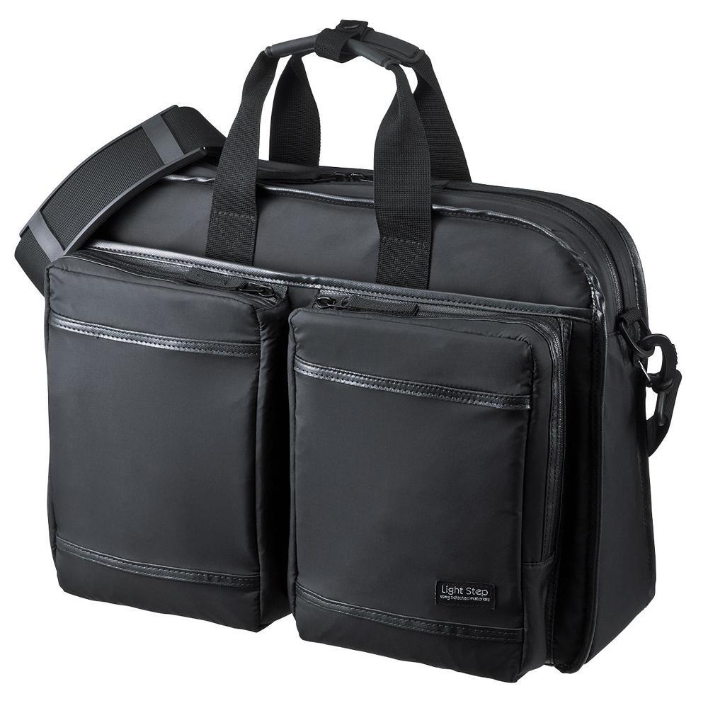サンワサプライ 超撥水・軽量PCバッグ 3WAYタイプ 15.6インチワイド シングル ブラック BAG-LW10BK「他の商品と同梱不可/北海道、沖縄、離島別途送料」