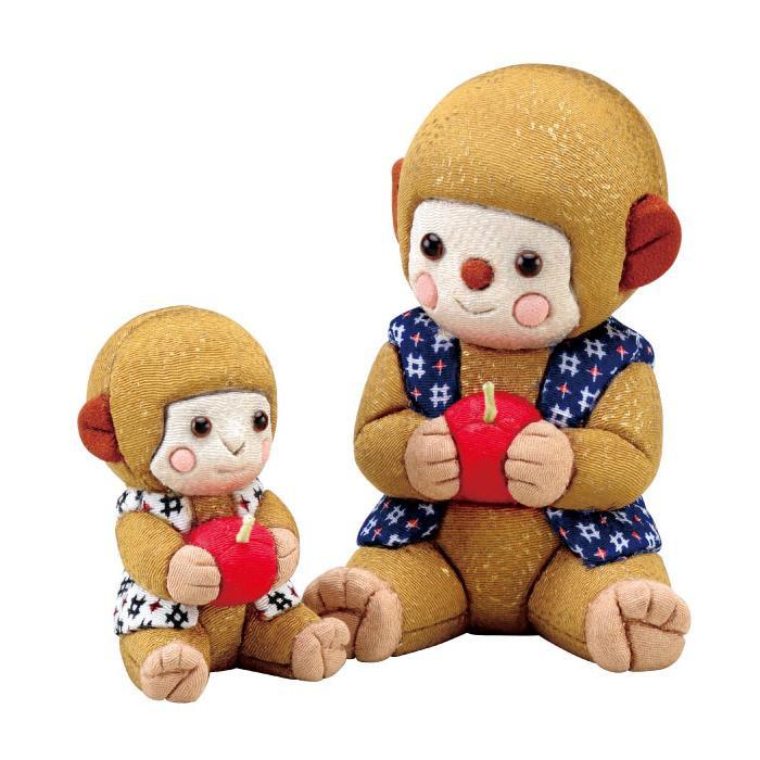 01-751 木目込み人形 さるの親子 完成品「他の商品と同梱不可/北海道、沖縄、離島別途送料」