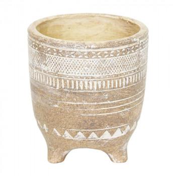 トライバル柄の植木鉢 トライバリズムポットL 1821「他の商品と同梱不可/北海道、沖縄、離島別途送料」