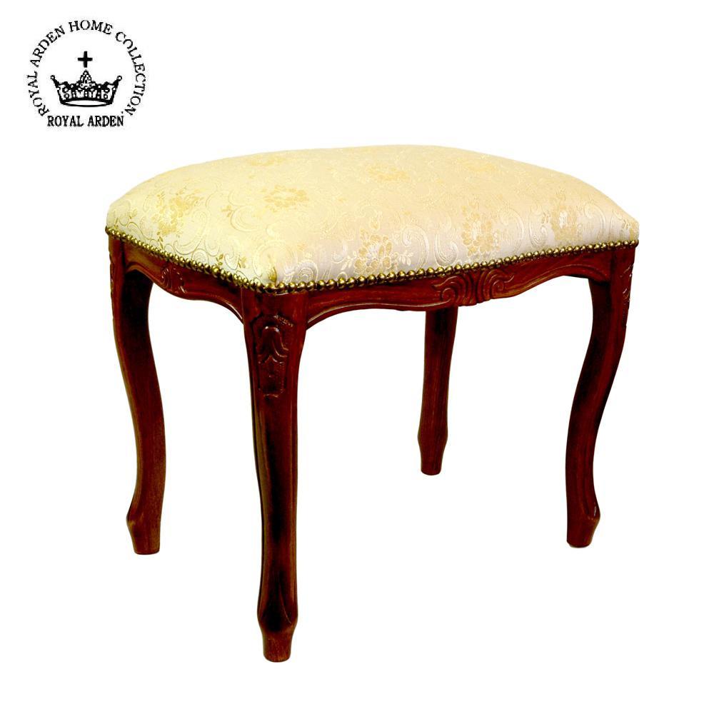 ロイヤルアーデン イタリアスツール Mサイズ ホワイト 茶脚 51357「他の商品と同梱不可」