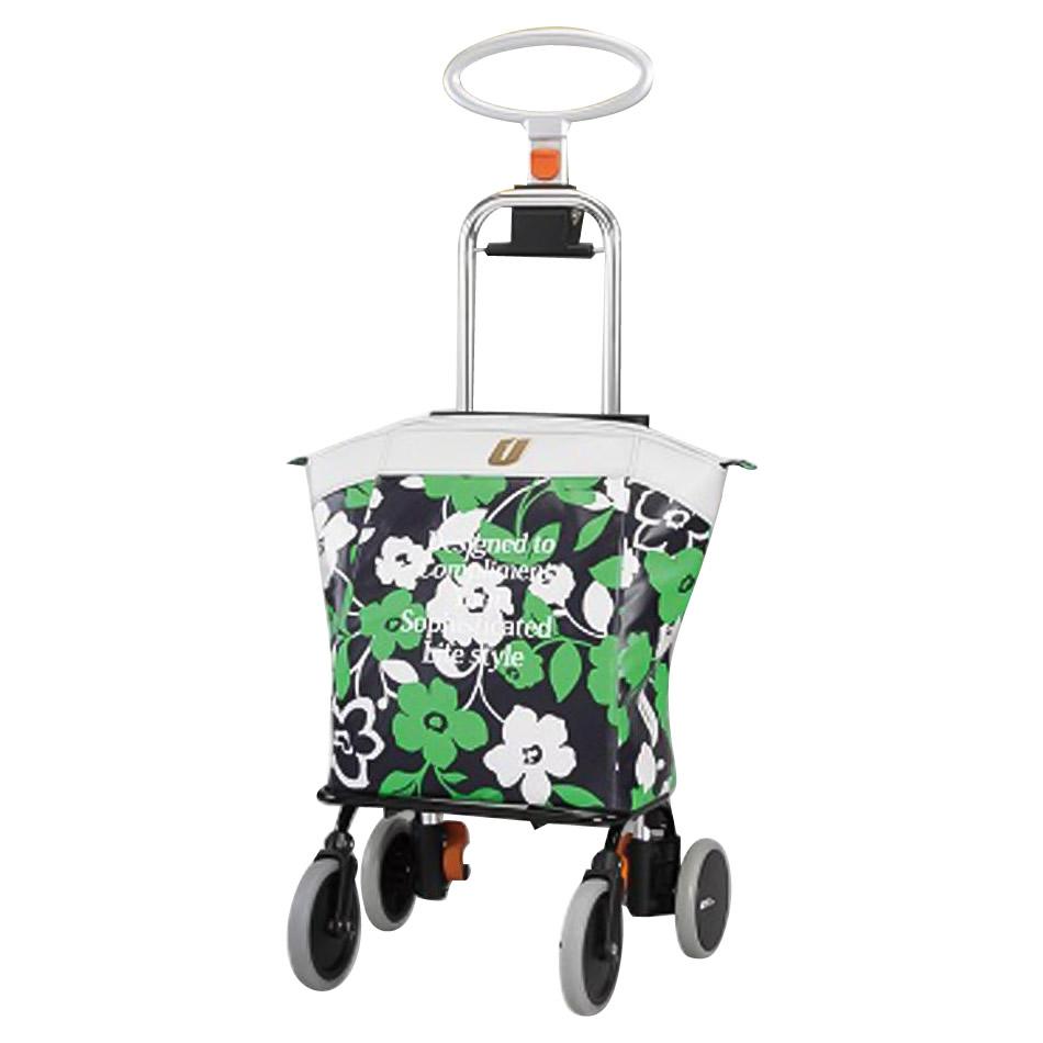 ショッピングカート アップライン UL-0218(花柄・ネイビー)「他の商品と同梱不可/北海道、沖縄、離島別途送料」