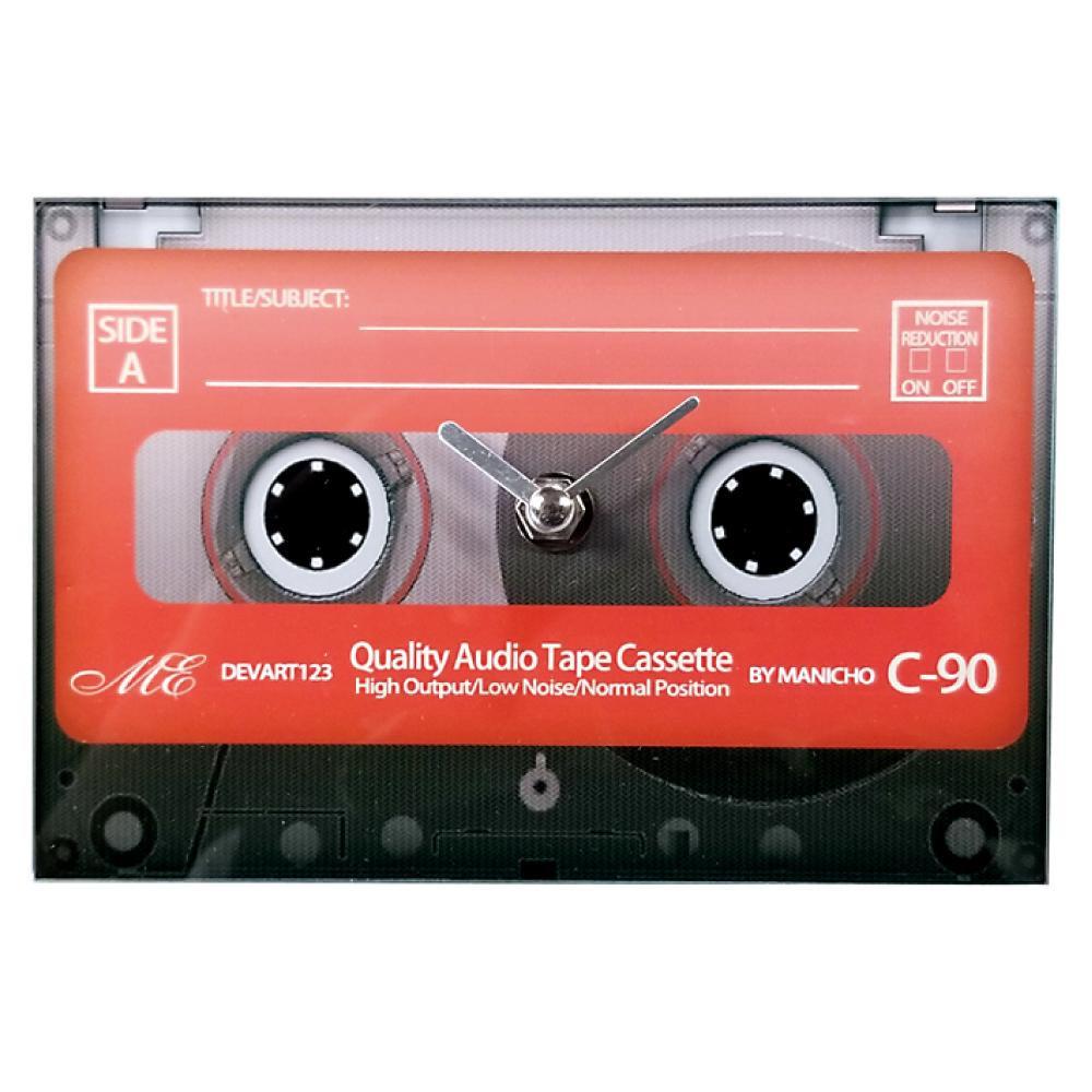 カセットテープデザインの置き時計 80's クロック 新着 置き時計 カセットテープ ガラス製 離島別途送料 北海道 お洒落 レッド 沖縄 他の商品と同梱不可 AR-1476-1