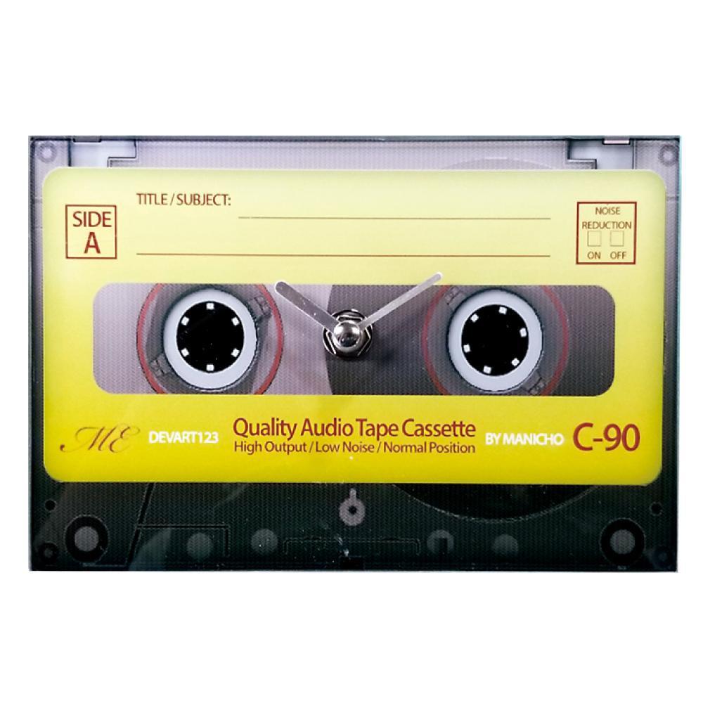 正規販売店 カセットテープデザインの置き時計 80's クロック 置き時計 カセットテープ ガラス製 倉庫 AR-1476-3 沖縄 北海道 他の商品と同梱不可 イエロー 離島別途送料