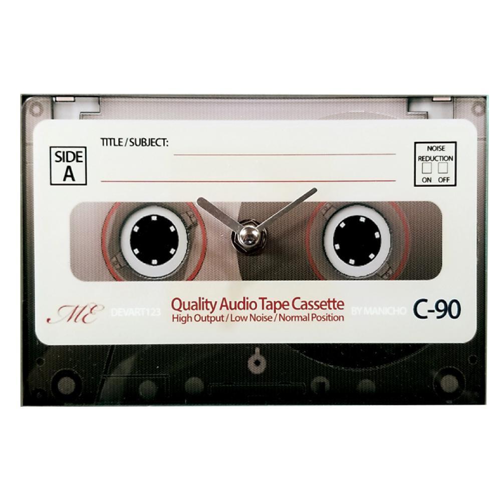 カセットテープデザインの置き時計 80's クロック 購入 置き時計 カセットテープ ガラス製 沖縄 激安格安割引情報満載 離島別途送料 アイボリー 北海道 AR-1476-4 他の商品と同梱不可
