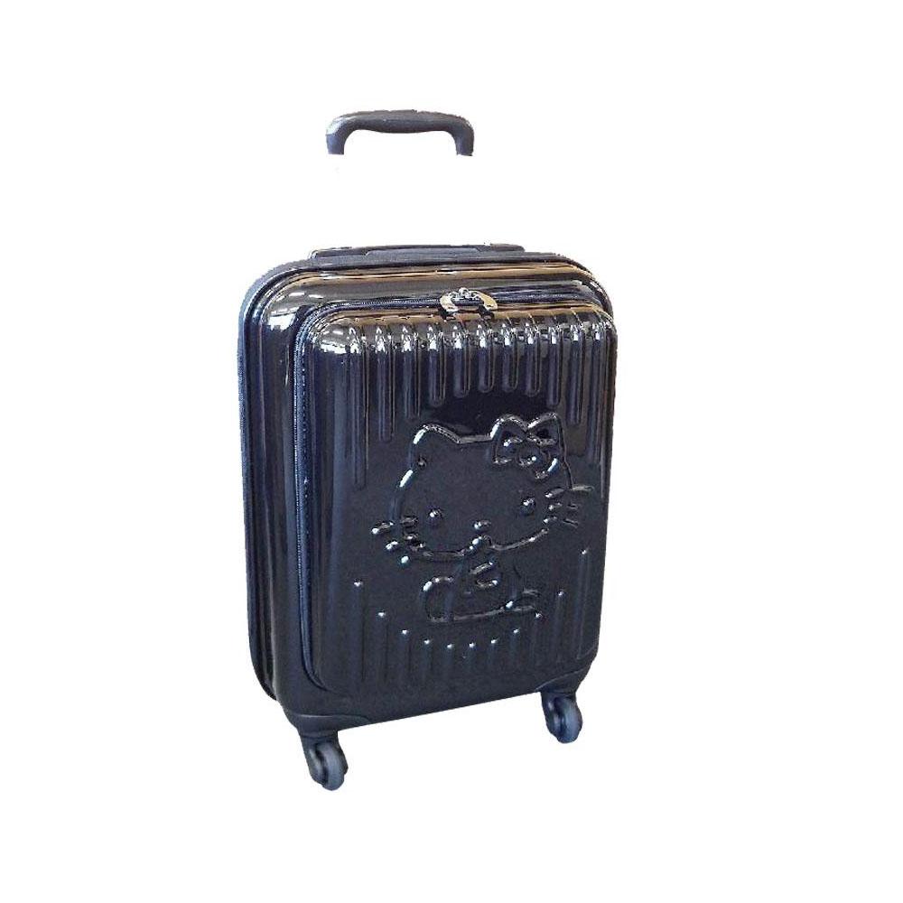 ハローキティ ブラインド柄前ポケット付きジッパーキャリーケース(115cm) 黒色 SR688BK-8「他の商品と同梱不可/北海道、沖縄、離島別途送料」