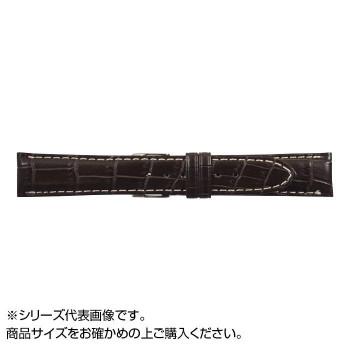 MIMOSA(ミモザ) 時計バンド クロコマット 18cm ブラウン/ホワイトステッチ (美錠:銀) WRM-BW18「他の商品と同梱不可/北海道、沖縄、離島別途送料」
