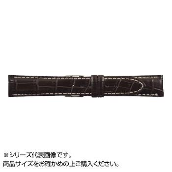MIMOSA(ミモザ) 時計バンド クロコマット 22cm ブラウン/ホワイトステッチ (美錠:銀) WRM-BW22「他の商品と同梱不可/北海道、沖縄、離島別途送料」