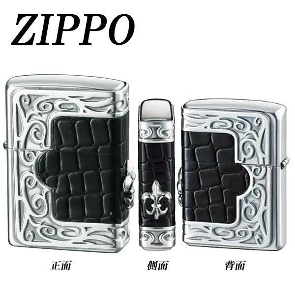 ZIPPO フレームクロコダイルメタル ユリ「他の商品と同梱不可/北海道、沖縄、離島別途送料」