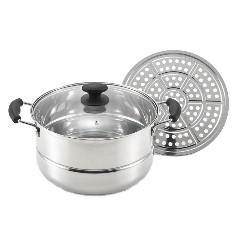 味名人 たっぷり鍋・蒸し皿付き28cm AM-28W 1001436「他の商品と同梱不可」
