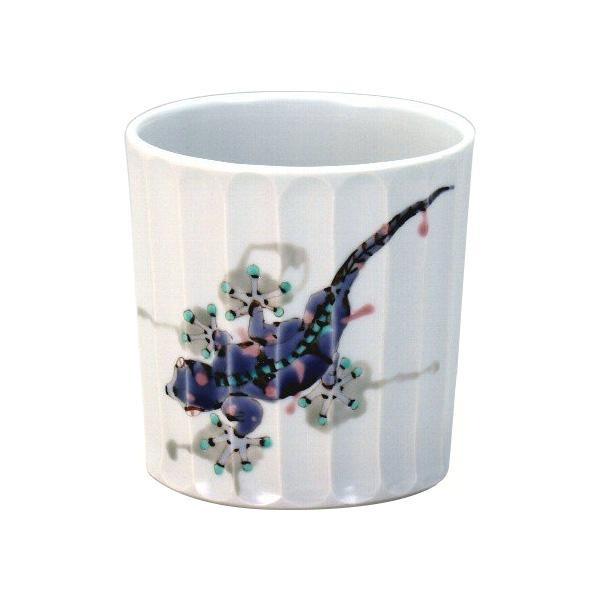 九谷焼 泰作 ロックカップ(白九) 家守 N125-02「他の商品と同梱不可/北海道、沖縄、離島別途送料」