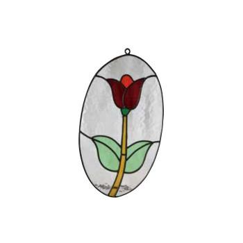 【代引不可】ステンドグラス チューリップ楕円 87055「他の商品と同梱不可/北海道、沖縄、離島別途送料」