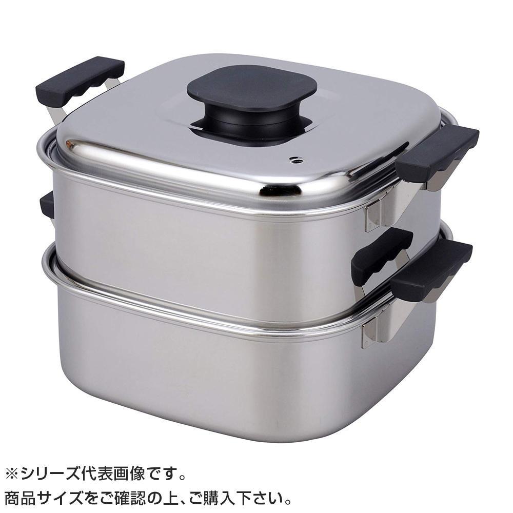 PE 18-0角蒸器 2段 22cm 045030「他の商品と同梱不可/北海道、沖縄、離島別途送料」