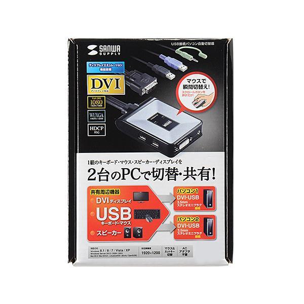 サンワサプライ パソコン自動切替器(2:1) SW-KVM2DUN「他の商品と同梱不可/北海道、沖縄、離島別途送料」