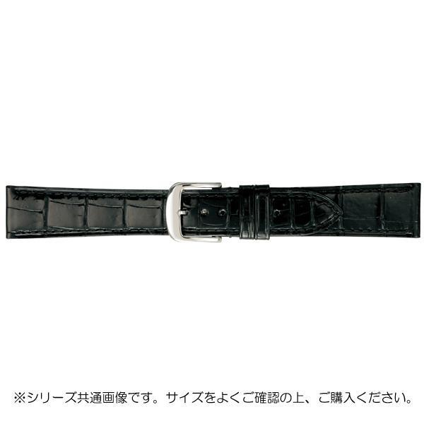 BAMBI バンビ 時計バンド グレーシャス ワニ革 黒(美錠:白) BWA005AO「他の商品と同梱不可/北海道、沖縄、離島別途送料」