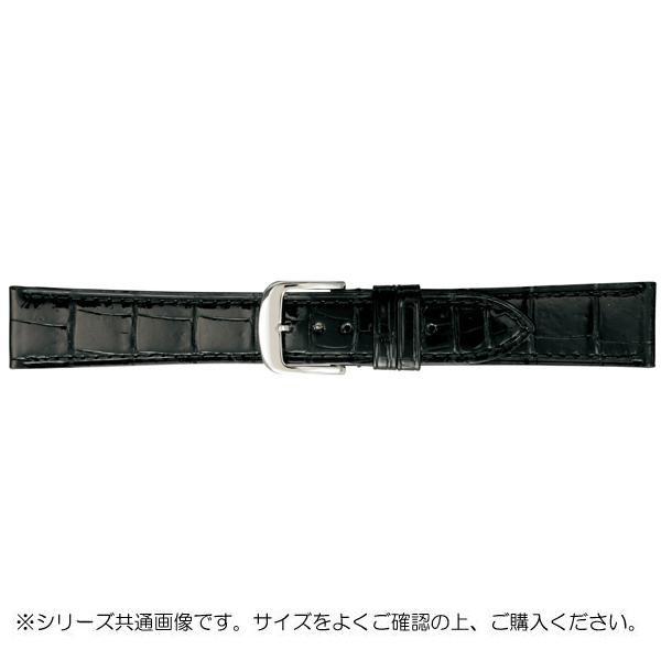 BAMBI バンビ 時計バンド グレーシャス ワニ革 黒(美錠:白) BWA005AS「他の商品と同梱不可/北海道、沖縄、離島別途送料」