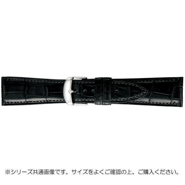 BAMBI バンビ 時計バンド グレーシャス ワニ革 黒(美錠:白) BWA030AU「他の商品と同梱不可/北海道、沖縄、離島別途送料」